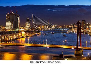 Rotterdam bridges twilight - Beautiful twilight view on the...