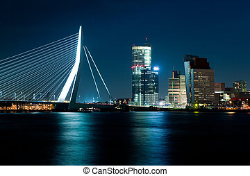 The illuminated Skyline of Rotterdam, Netherlands at night