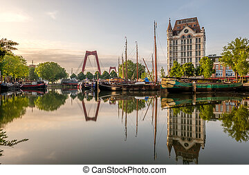 Rotterdam city cityscape skyline with, Oude Haven,...
