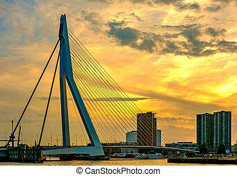 Rotterdam city cityscape with Erasmus bridge at sunset