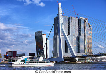 Rotterdam City Downtown - City downtown of Rotterdam, river...