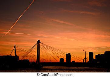 Rotterdam city sunset skyline - The skyline of the city of...