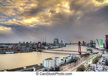 Rotterdam cloudscape sunset - Beautiful sunset view on the...