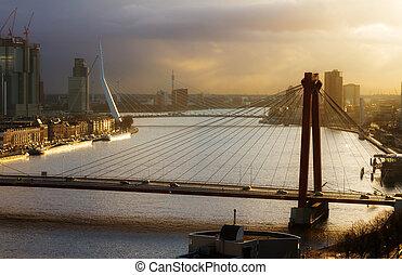 rotterdam, coucher soleil, ponts