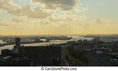 Rotterdam Dusk Panorma - View from Rotterdam towards the...