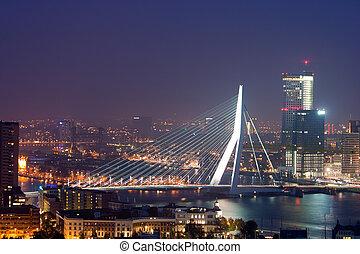 Evening view on the Erasmus bridge in Rotterdam