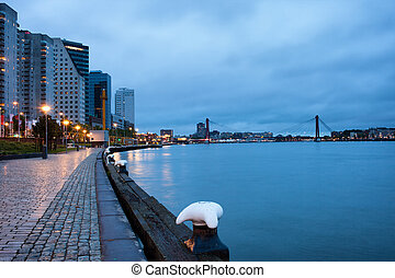 Rotterdam in the Evening - Promenade, apartment blocks and...