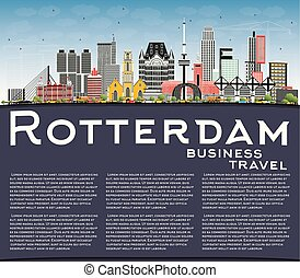 Rotterdam Netherlands City Skyline with Gray Buildings, Blue Sky and Copy Space.