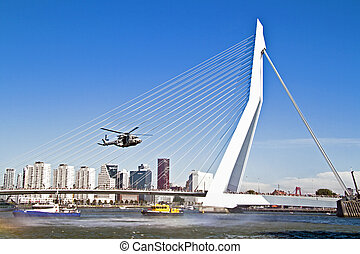 ROTTERDAM, NETHERLANDS - SEPTEMBER 09: Demonstration of a rescue operation with a helicopter during the World Harbor Days in Rotterdam, Holland on September 9, 2012