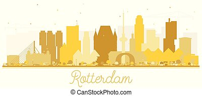 Rotterdam Netherlands skyline Golden silhouette.