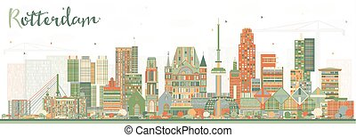Rotterdam Netherlands Skyline with Color Buildings.