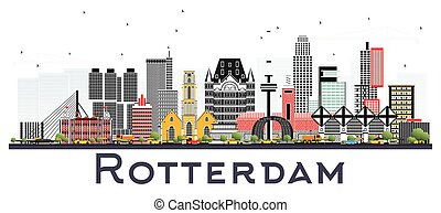 Rotterdam Netherlands Skyline with Gray Buildings Isolated on White Background.