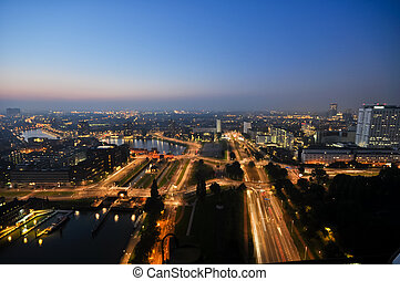 Rotterdam night aerial view