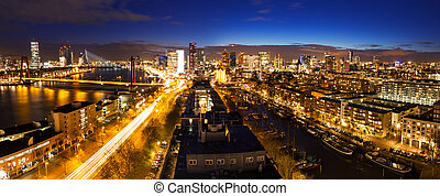 Rotterdam night skyline - Beautiful aerial view of the...