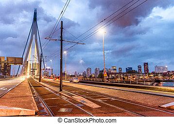 Rotterdam night skyline on a stormy evening