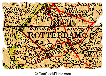 Rotterdam old map - Rotterdam, The Netherlands on an old...
