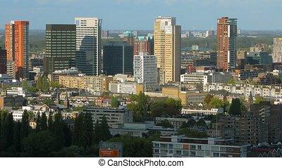 Rotterdam panoramic view - Rotterdam city center high angle...