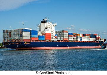 rotterdam, récipient bateau, hollande, port