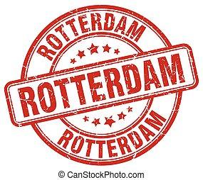 Rotterdam red grunge round vintage rubber stamp