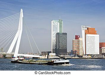 rotterdam, rivière, transport