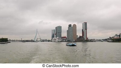 Rotterdam view from y boat ride, skyline and waterway