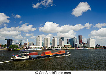 Rotterdam skyline and container ship - Rotterdam skyline and...