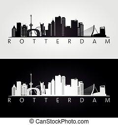 Rotterdam skyline and landmarks silhouette