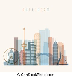 Rotterdam skyline detailed silhouette. Transparent style....