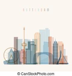 Rotterdam skyline detailed silhouette.