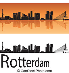Rotterdam skyline in orange background in editable vector...
