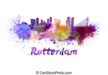 Rotterdam skyline in watercolor splatters with clipping path