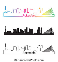 Rotterdam skyline linear style with rainbow in editable...