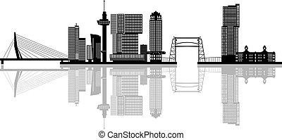 Rotterdam skyline netherlands - rotterdam skyline with...