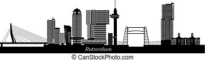 Rotterdam skyline netherlands with text