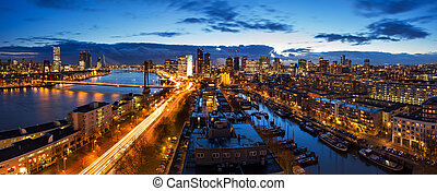 Rotterdam skyline panorama - Beautiful aerial view of the...