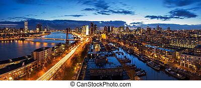 Rotterdam skyline panorama - Beautiful aerial view of the...