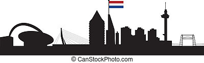 Rotterdam skyline with dutch flag in red whitte blue