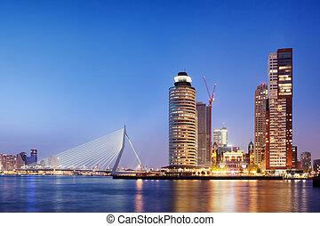 rotterdam, stadt skyline, abend