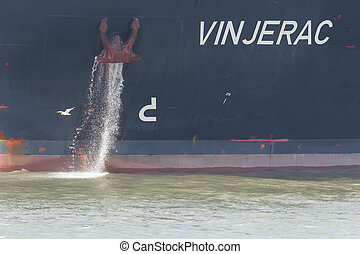 Bow of the oil tanker with anchor