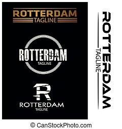 Rotterdam typography set, flat designs.