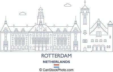 rotterdam, ville, pays-bas, horizon