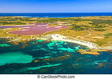 Rottnest Island Pink lake - Aerial view of Pink lake and ...