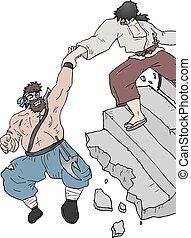 rotto, aiuto, scala