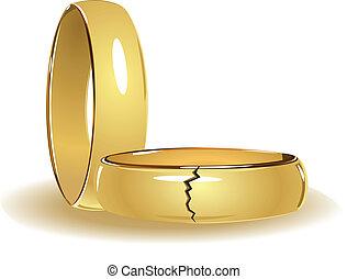 rotto, anelli, matrimonio