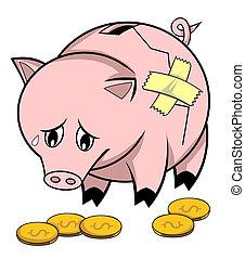 rotto, banca piggy