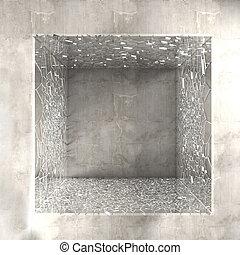 rotto, cubo, vetro