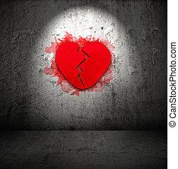 rotto, cuore rosso