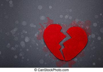 rotto, feltro, cuore rosso