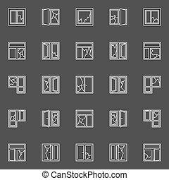 rotto, finestra, icone concetto
