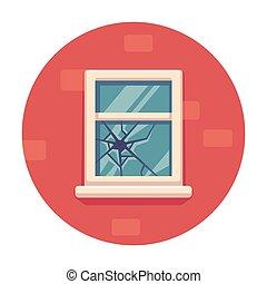 rotto, finestra, illustrazione